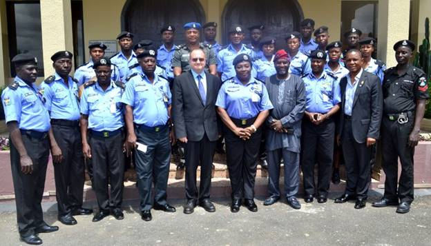 The Principal, Olashore International School, Mr Derek Smith, Chairman Olashore International School, and  AIG zone 11 Oshogbo, Osun state Kalafite Helen Adeyemi(mni, and her police entourag