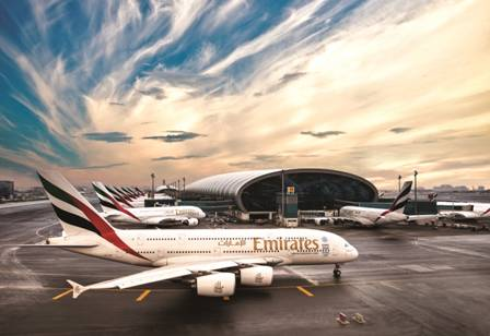 Emirates A380s at Dubai International Airport