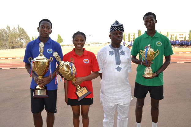 Blue House Captain, Onigbogi Damilare, Sports Prefect, Effiong Mminika, Head Of Extra curricular activities, Mr Felix Adeboboye, Green House Captain, Ishola Taofeek Oluwatobi, at the Olashore International School Interhouse Sports, recently held at the school at Illoko-Ijesha, Osun State