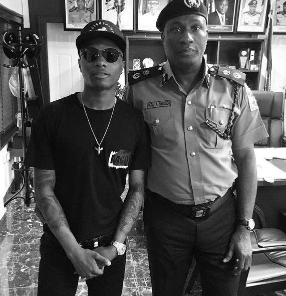 Wizkid and Lagos Police commissioner Fatai Owoseni