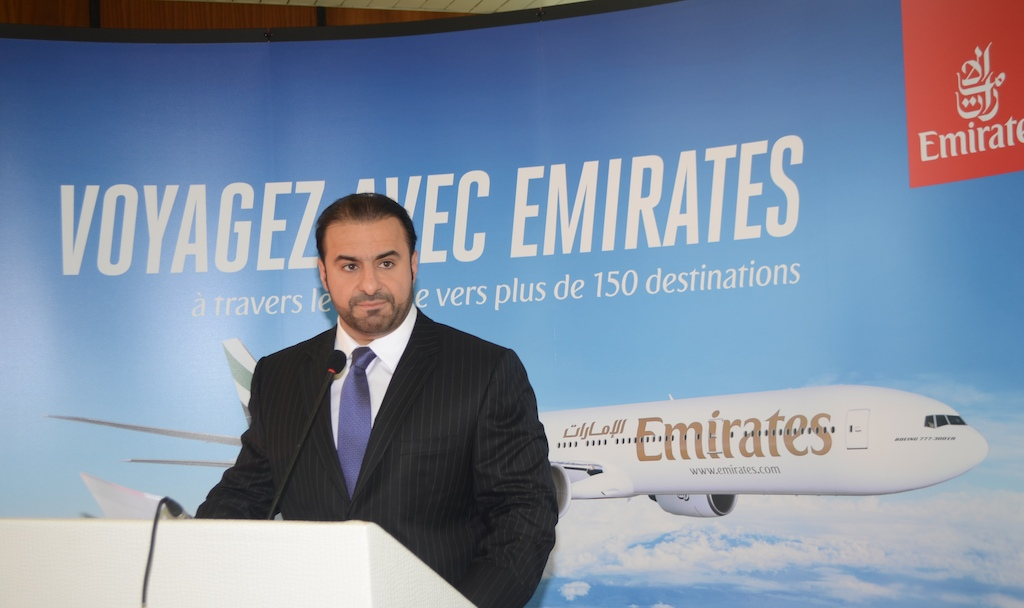 Orhan Abbas, Emirates' Senior Vice President Commercial Operations for Africa, speaking to aviation authority officials and senior members of local media at a welcome reception held at Conakry International Airport.