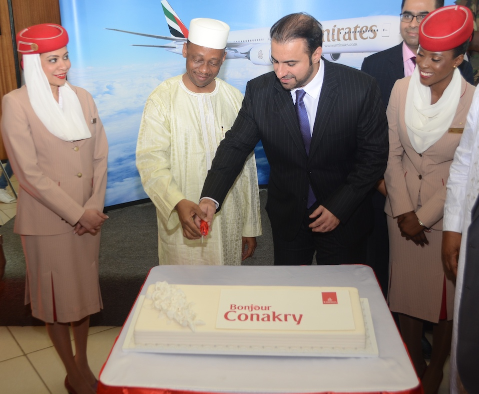 - Prime Minister of Guinea, His Excellency Mamady Youla and Orhan Abbas, Emirates' Senior Vice President Commercial Operations for Africa