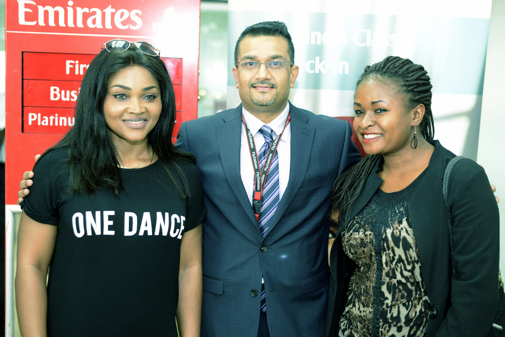 Nollywood Actress, Mrs Mercy Aigbe-Gentry; Regional Manager West Africa, Mr Manoj Nair; and BusinessDay Aviation Editor, Miss Ifeoma Okeke at the Departure area of the Murtala Mohammed International Airport in preparation for the Emirates Familiarization Trip 2016, recently in Lagos.
