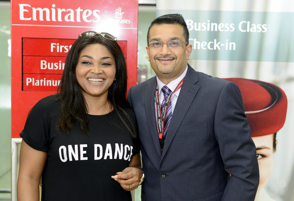Nollywood Actress, Mrs Mercy Aigbe-Gentry and Regional Manager West Africa, Mr Manoj Nair; at the Departure area of the Murtala Mohammed International Airport in preparation for the Emirates Familiarization Trip 2016, recently in Lagos.